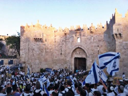 Jerusalem Day celebrants marching near the Damascus Gate. Photo courtesy: Akiva Gottlieb
