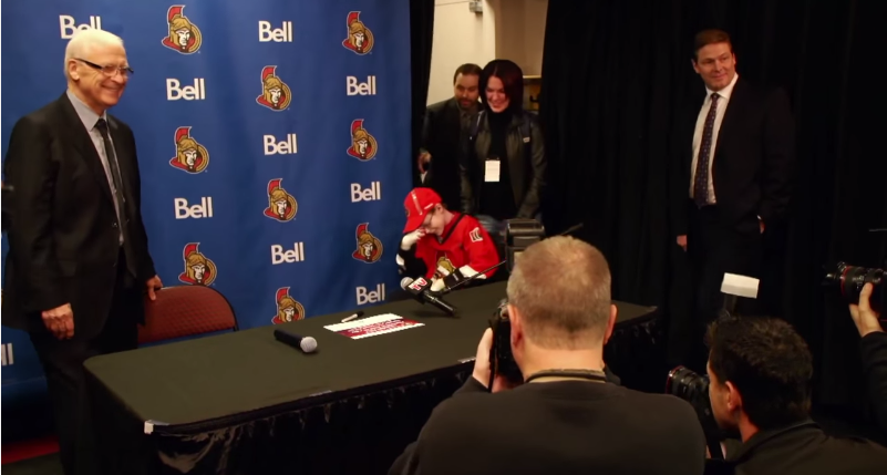 Jonathan Pitre, 14, overwhelmed by his press conference with the Ottawa Senators