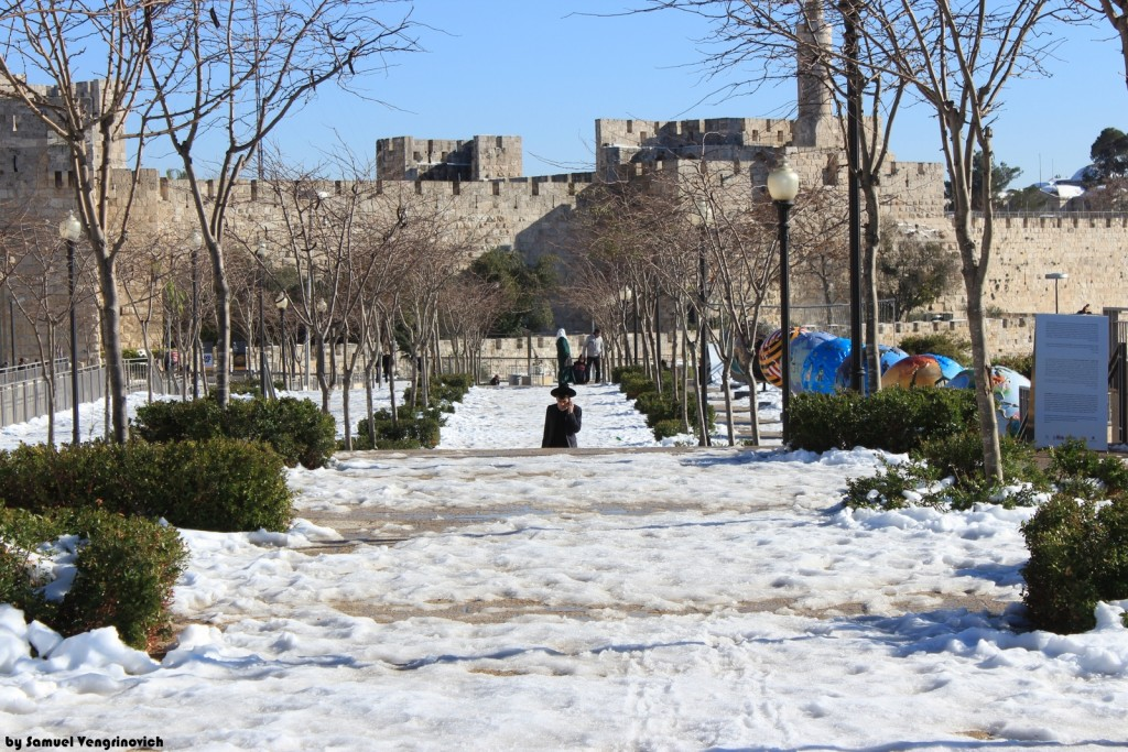 Snow in Jerusalem outside of Old City