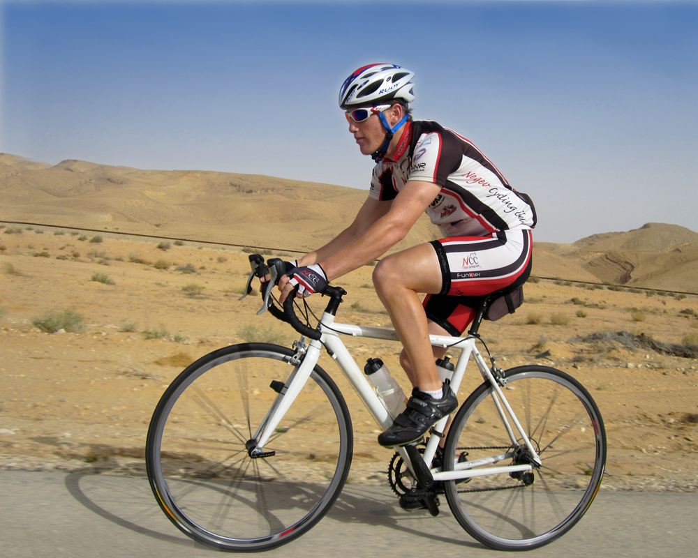 My grandson Or cycling through the Negev where he lives