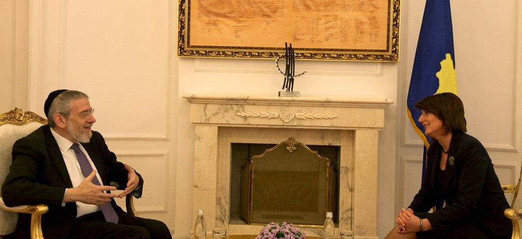 Rabbi Michael Melchior at meeting with President Atifete Jahjaga of Kosovo