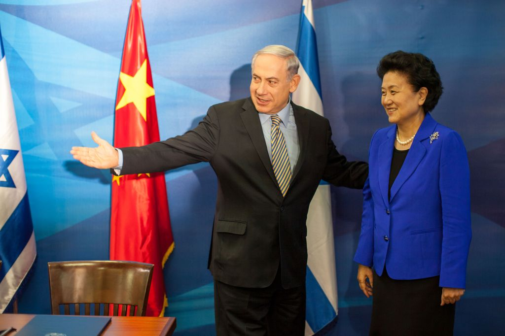 Prime Minister Benjamin Netanyahu and Liu Yandong, Vice Premier of the People's Republic of China, seen at a joint press conference at Prime Minister Netanyahu's office in Jerusalem. May 19, 2014. (Photo credit: Emil Salman/POOL/Flash90)