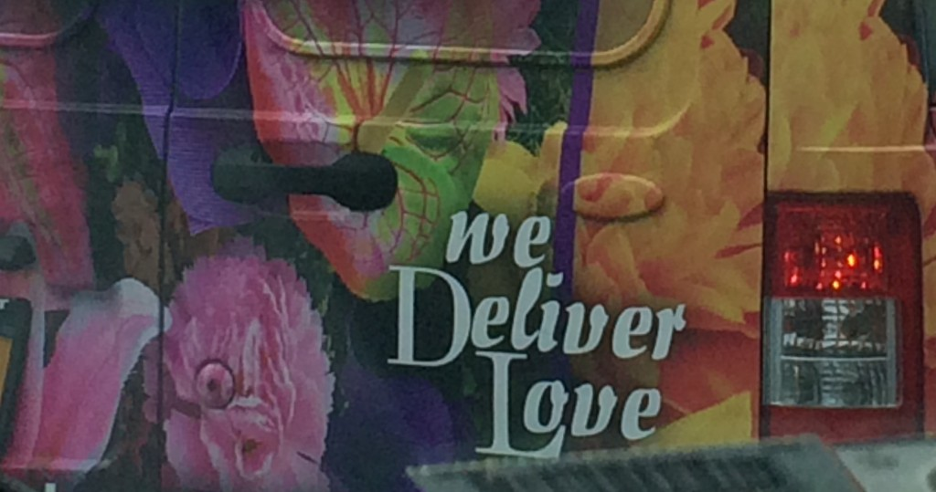 "Floral Delivery Van: ""We Deliver Love"""