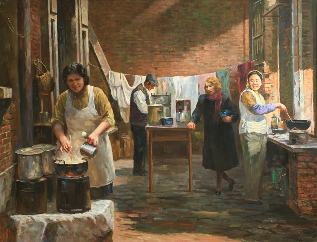 Oil painting, Preparing Meals (Photo Credit: CC - BY Zhang Ping, Chinese Jewish Cultural Foundation)
