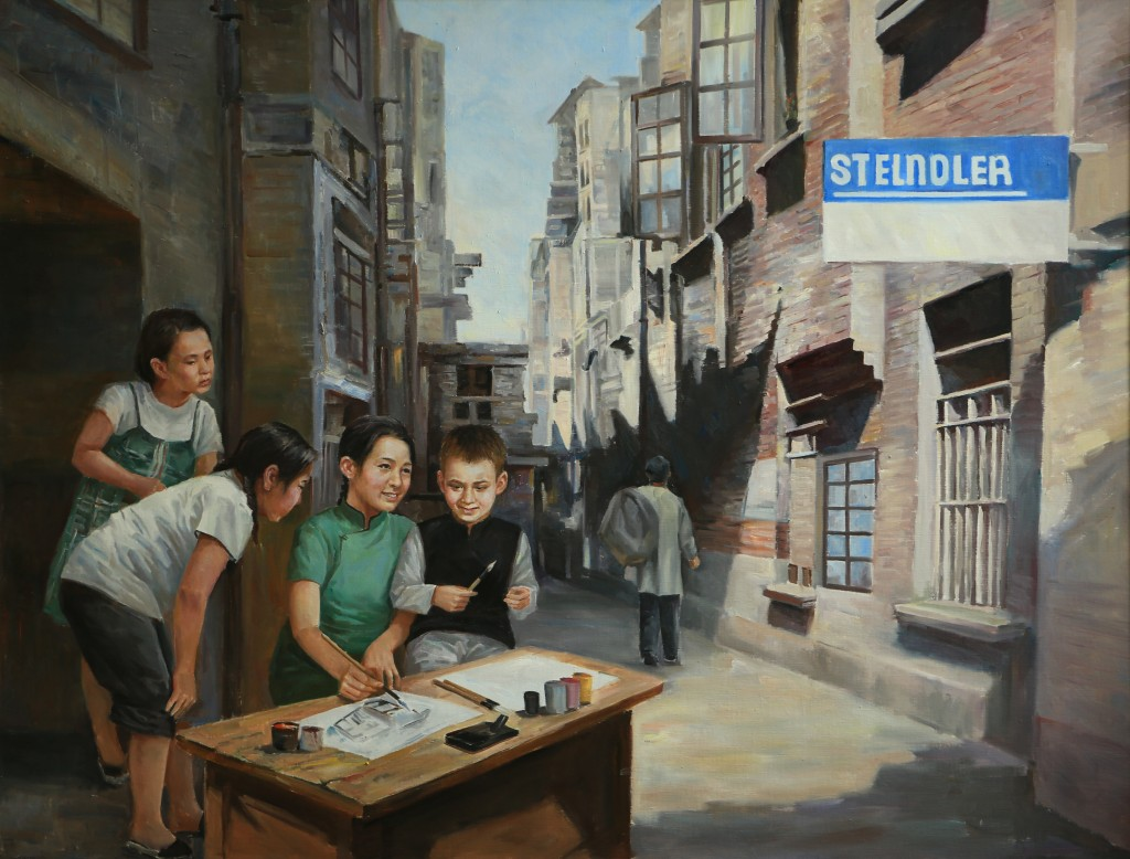 Oil painting, Teaching Painting in the Alley (Photo Credit: CC - BY Zhang Ping, Chinese Jewish Cultural Foundation)