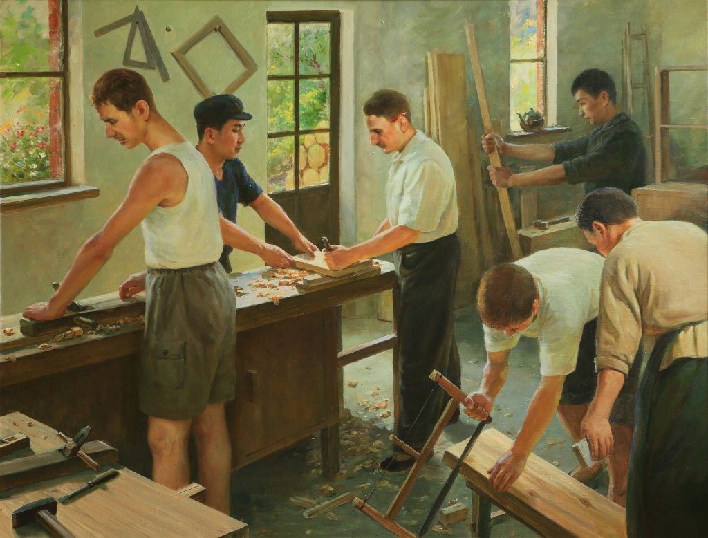 Oil painting, Carpentry Apprentice (Photo Credit: CC - BY Zhang Ping, Chinese Jewish Cultural Foundation)
