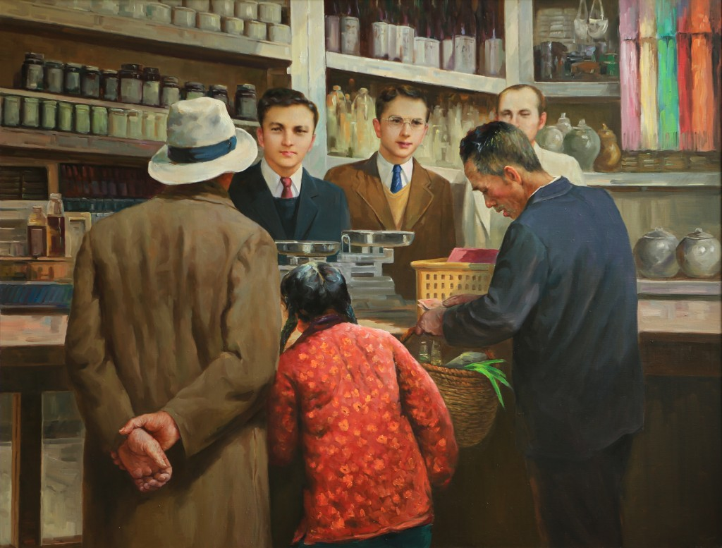 Oil painting, Jewish Grocery (Photo Credit: CC - BY Zhang Ping, Chinese Jewish Cultural Foundation)