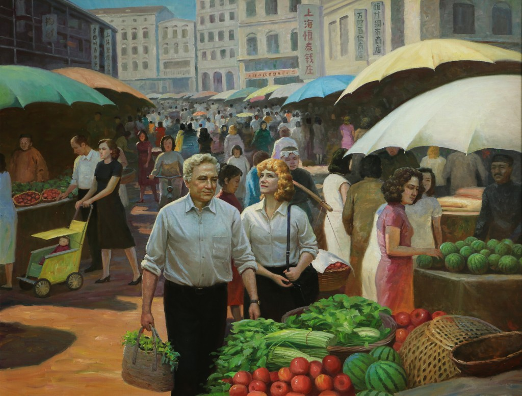 Oil painting, Chusan Road Market (Photo Credit: CC - BY Zhang Ping, Chinese Jewish Cultural Foundation)