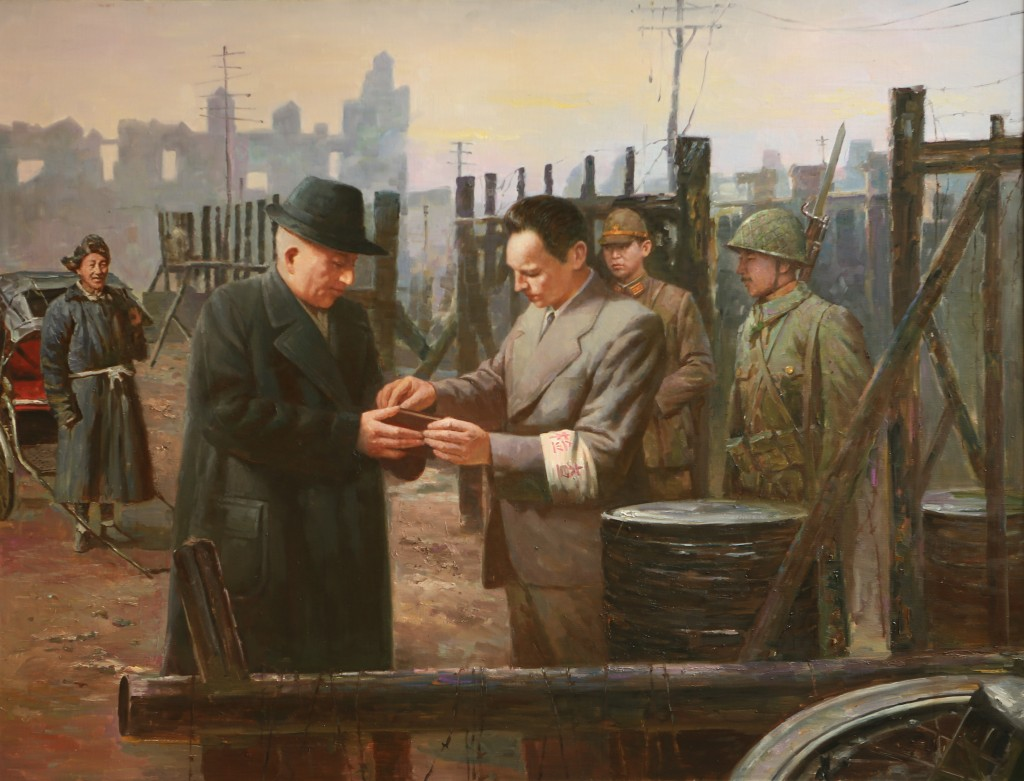 Oil painting, The Checkpoint of HongKew Ghetto (Photo Credit: CC - BY Zhang Ping, Chinese Jewish Cultural Foundation)