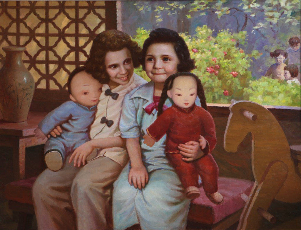 Oil painting, Chinese Dolls (Photo Credit: CC - BY Zhang Ping, Chinese Jewish Cultural Foundation)