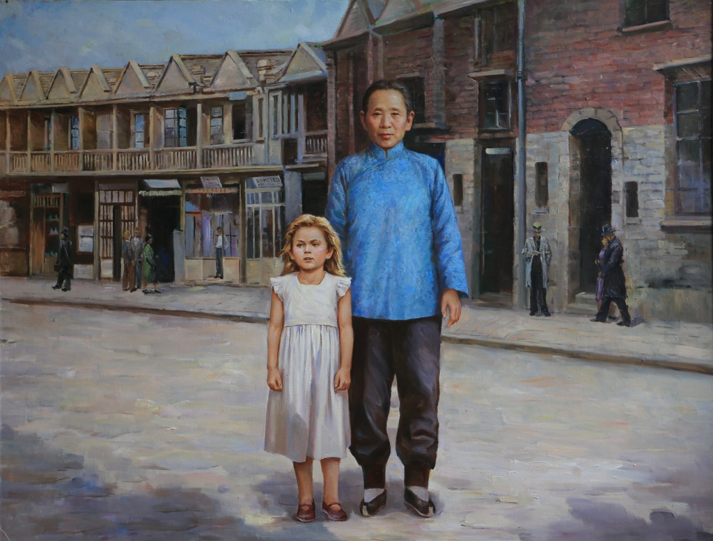 Oil painting, The Girl and her Nanny (Photo Credit: CC - BY Zhang Ping, Chinese Jewish Cultural Foundation)