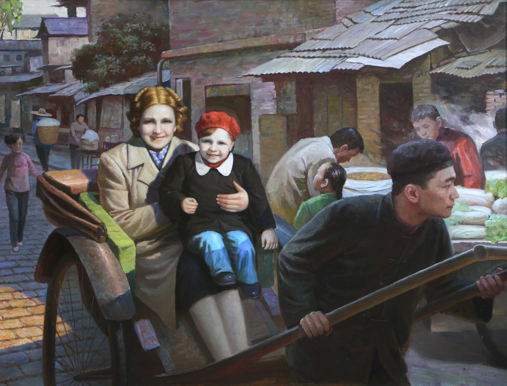 Oil painting, Rickshaw Man, Mother and Daughter (Photo Credit: CC - BY Zhang Ping, Chinese Jewish Cultural Foundation)