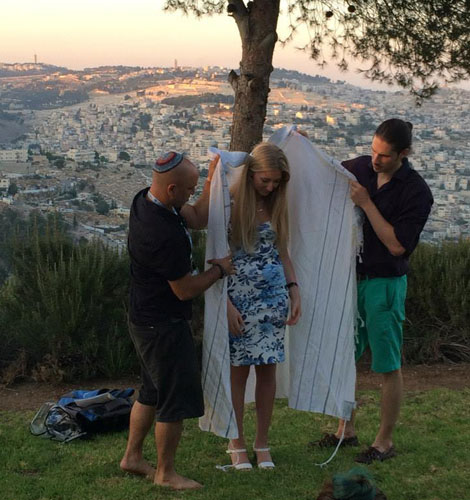 Bat Mitzvah blessing: Me receiving a special blessing in Jerusalem on my UJIA Birthright trip because I never had a Bat Mitzvah.