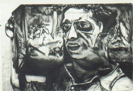Hatikva  (Survivor at moment he sets foot in the Holy Land) Charcoal on Arches Paper