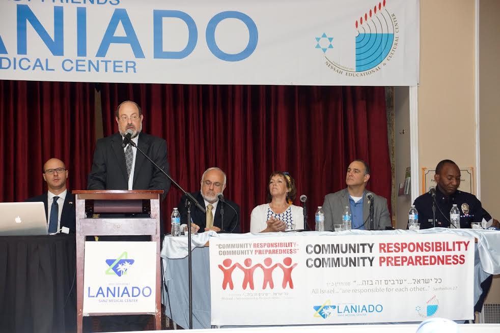 The Panel from L-Consul Yaki Lopaz, Urie Liberman, Rabbi Abraham Cooper, Lydia Lanxner, Ivan Wolkind and Horace E. Frank, LAPD-Photo Laniado