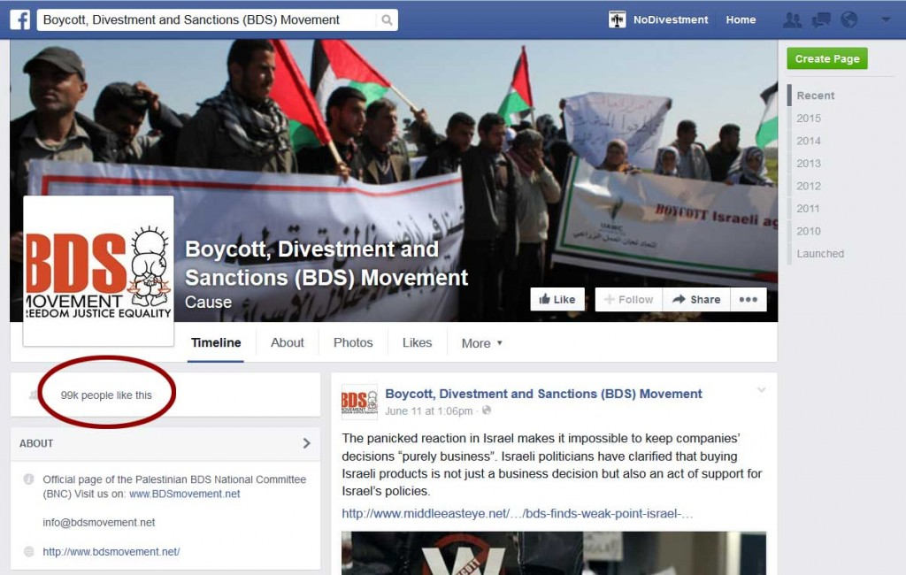 "99,875 Facebook ""likes"" for BDS"