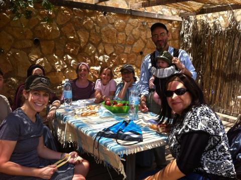 Bloggers Laura Ben David, Miriam Lottner, Rochie Horwitz and my family in Efrat, June 2014.