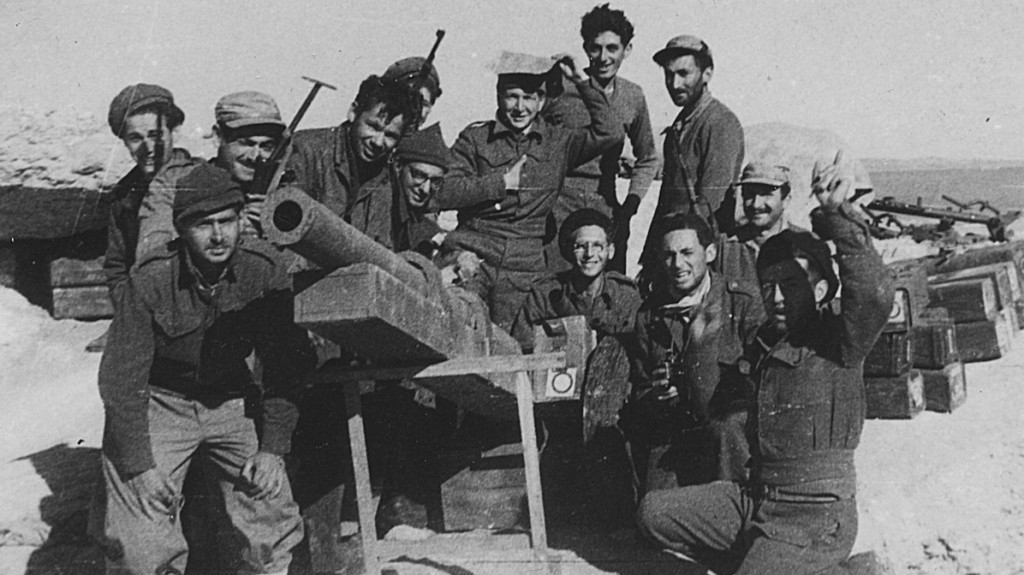 For Israeli war volunteers, service was the most important act of their lives. Tom Tugend, fourth from left, and fellow foreign volunteers during Israel's War of Independence (JTA courtesy photo).