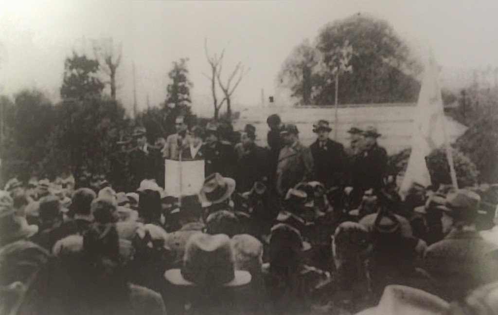 Mr. Magid reading declaration of Independence of the State of Israel on the grounds of the Shanghai Jewish Club in the presence of the members and leaders of the Jewish community (Photo Credit: CC - BY Isador Magid, Shanghai Jewish Refugees Museum)