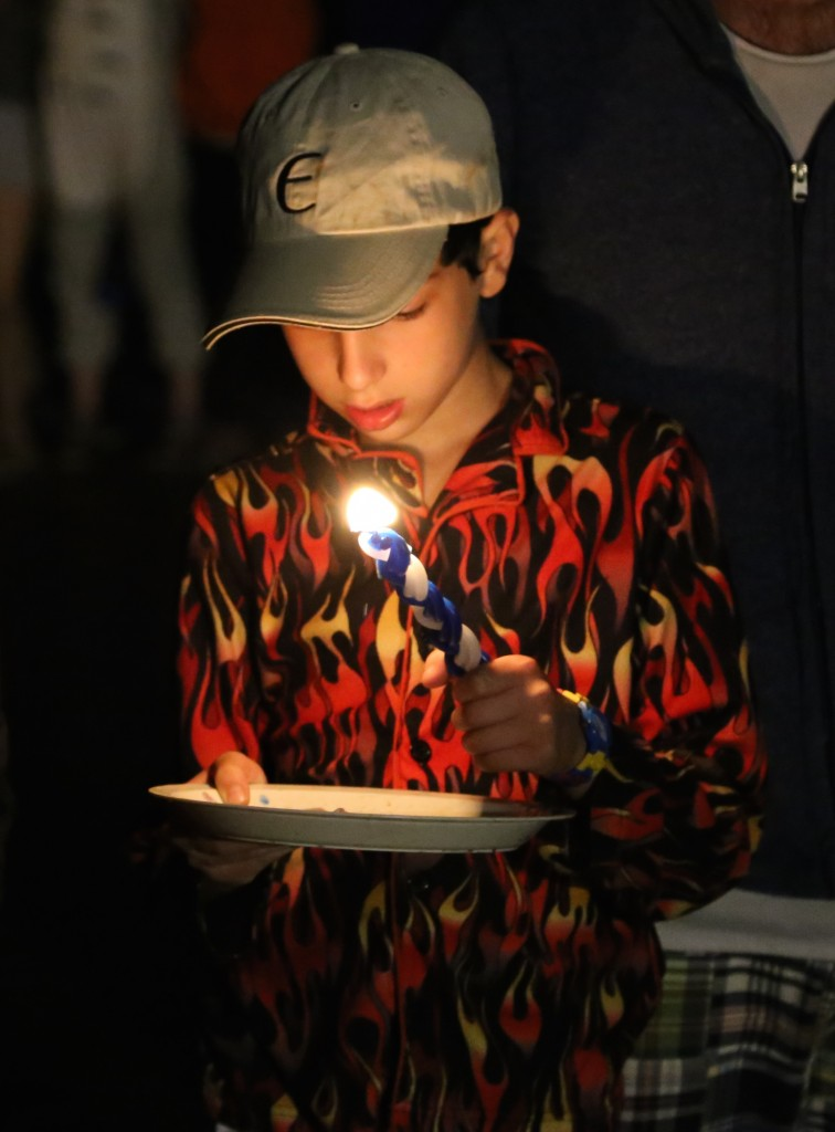My son, Emmett, at Havdalah, Camp Ramah, Rockies