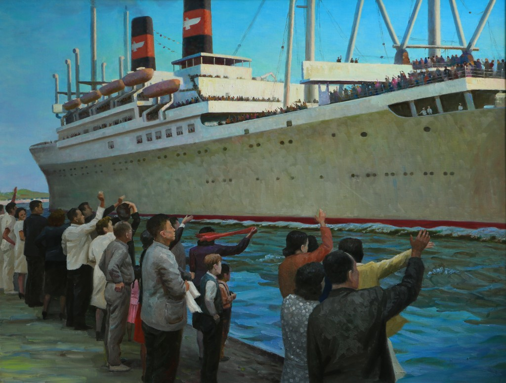 Oil painting, Farewell Shanghai (Photo Credit: CC - BY Zhang Ping, Chinese Jewish Cultural Foundation)