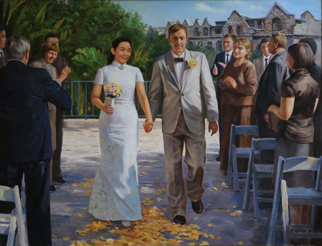 Oil painting, Jewish-Chinese Wedding Ceremony (Photo Credit: CC - BY Zhang Ping, Chinese Jewish Cultural Foundation)