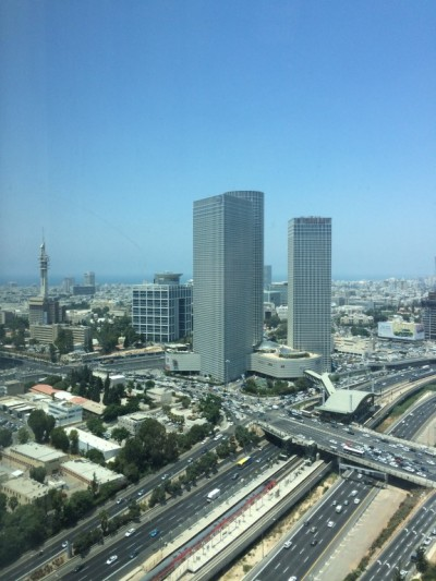 A view of the Kirya from the Google Campus in Tel Aviv