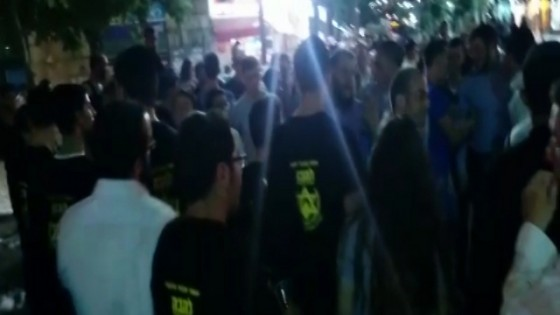 LEHAVA volunteers marching in town (courtesy of Jerusalem Stands up to Racism)