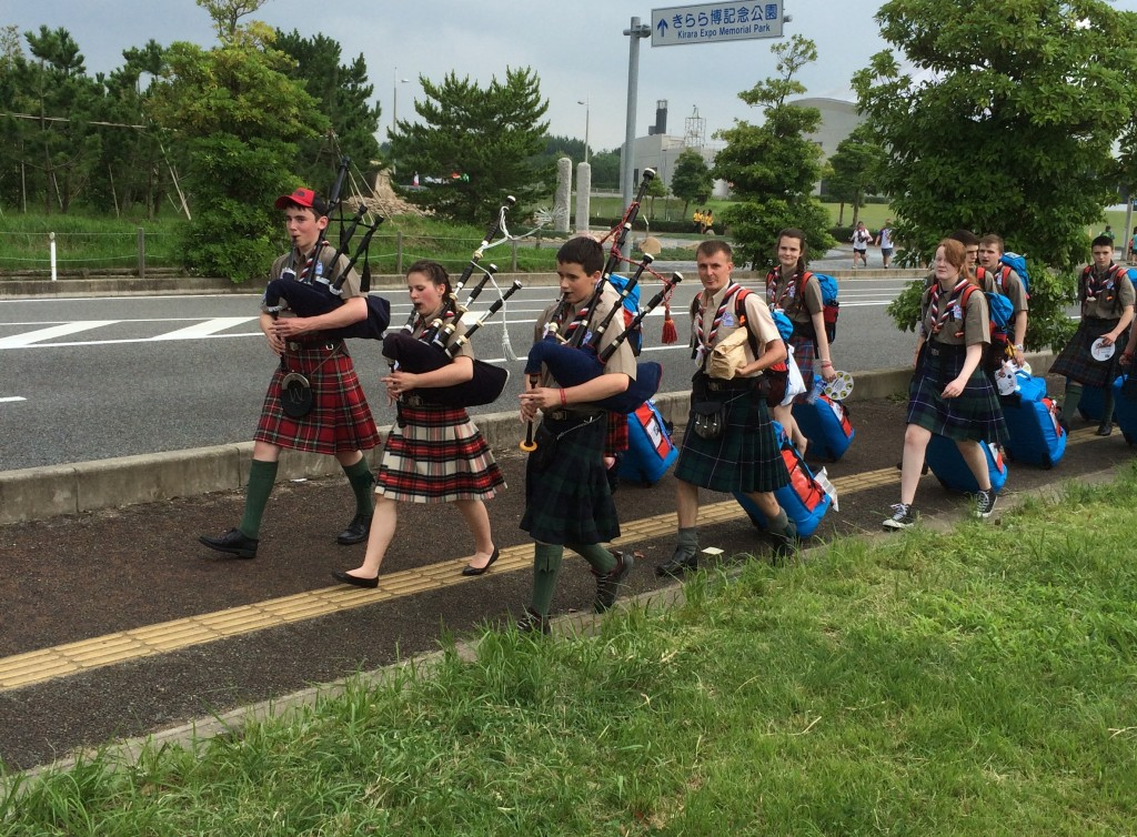The Scottish contingent arrives at the Boy Scout Jamboree.