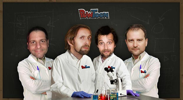 The mad scientists who invented Powtoon: (L-R) Chief Animator Oren Mashkovski, CEO Ilya Spitalnik, Chief Developer Sven Hoffmann, and COO Daniel Zaturansky.