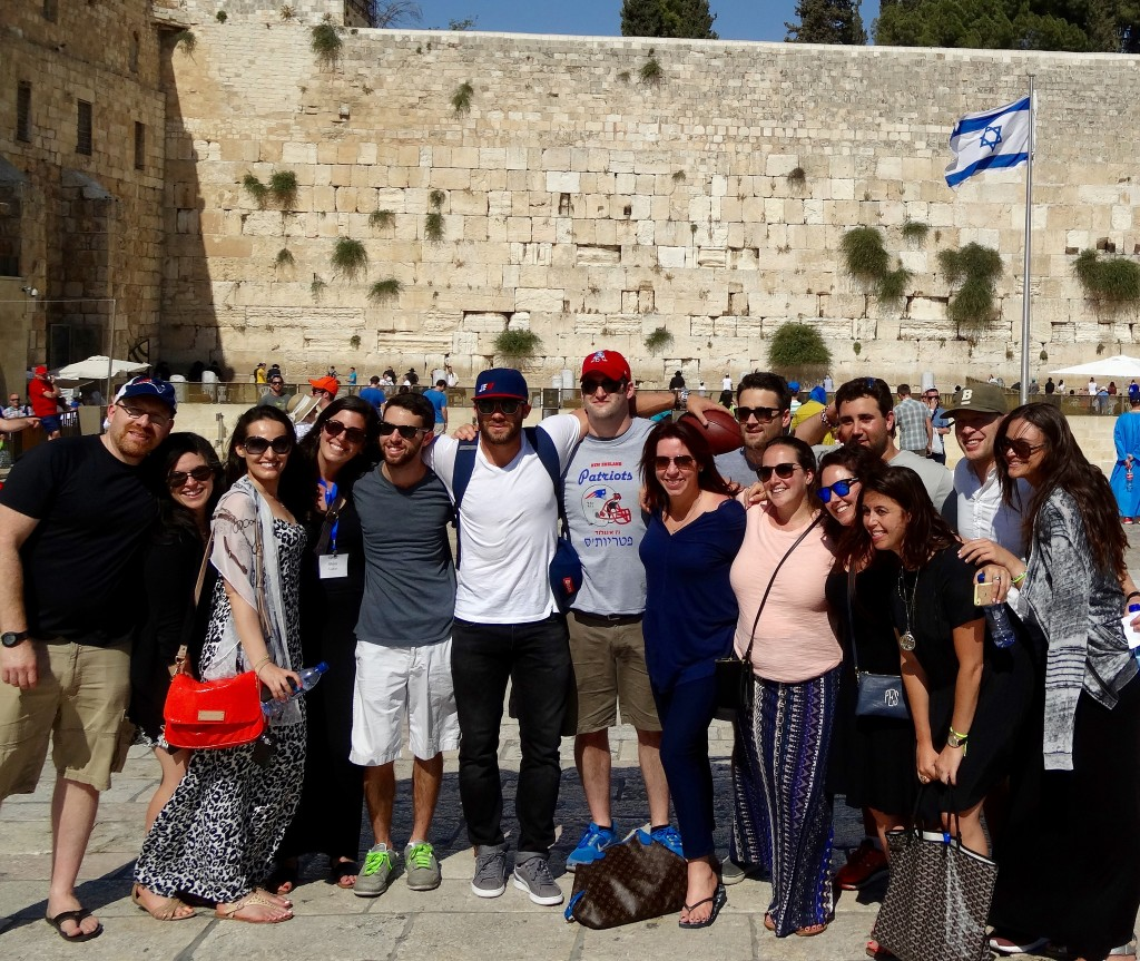 The whole gang of Boston-area young adults and Julian Edelman at the Kotel.