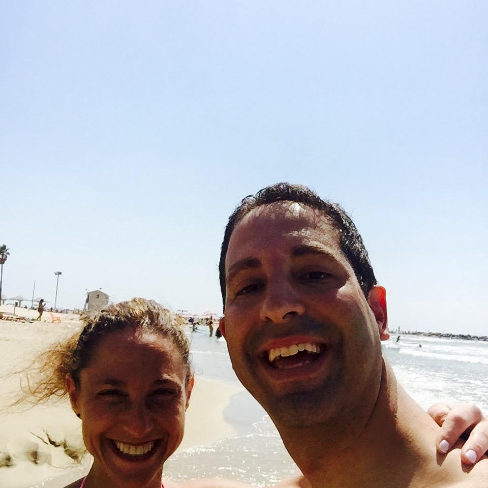 At the beach in Netanya.