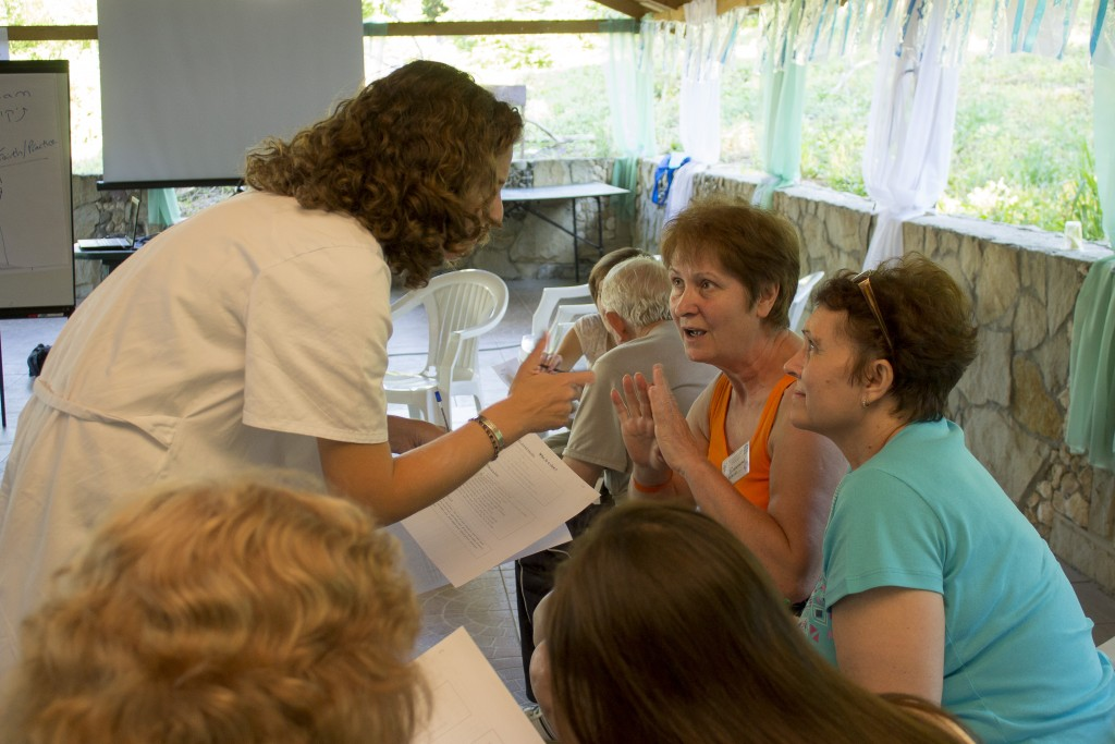 Interacting with camp participants at the JDC's family camp in Kishinev, Moldova