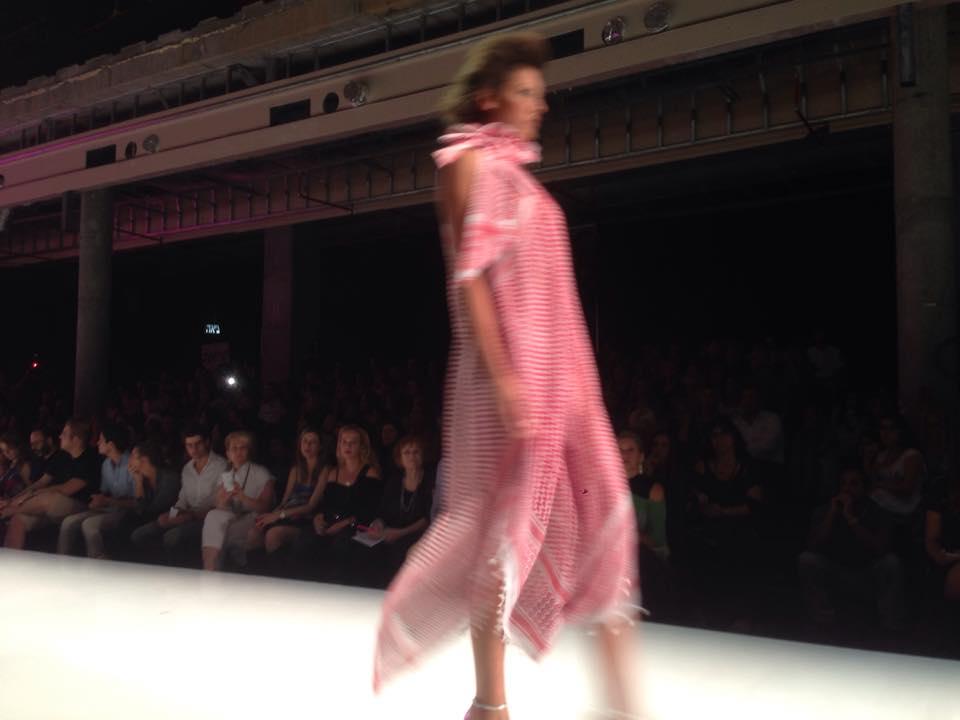 Yaron Minkowski's keffiyeh at Gindi Tel Aviv Fashion Week 2015 (Simone Somekh)