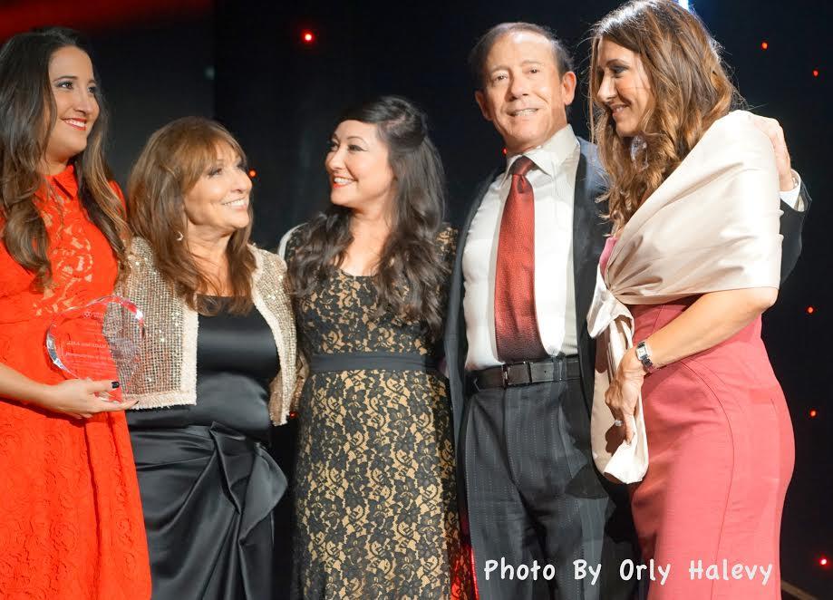 2nd-L-Gila Milstein, 2nd-R- Adam Milstein with their three daughters
