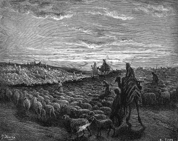 1865 Doré engraving of Abram Journeying into the Land of Canaan