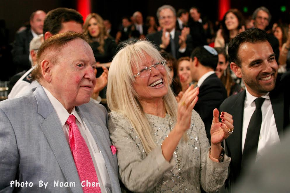 L-Sheldon and Miriam Adelson who donated $5 million for MDA and Erik Levis