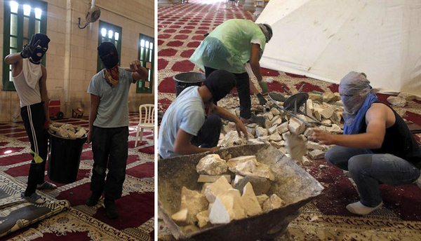 Masked Palestinians wearing shoes and gathering rocks to throw on Jewish worshippers at the Kotel