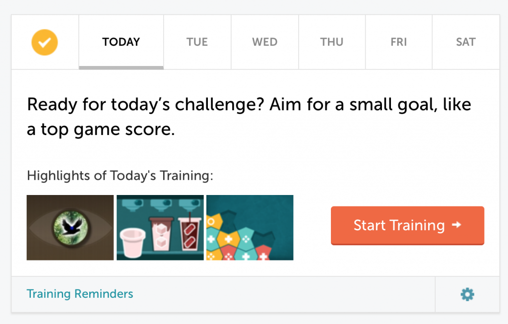 My Lumosity home page today