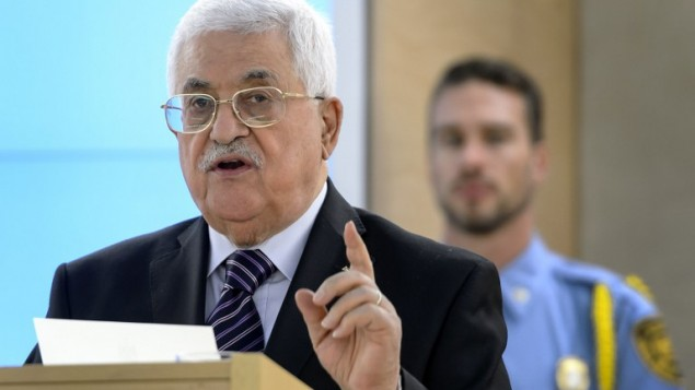 Palestinian Authority President Mahmoud Abbas addresses the UN Human Rights Council on October 28, 2015. (AFP/Fabrice Coffrini)