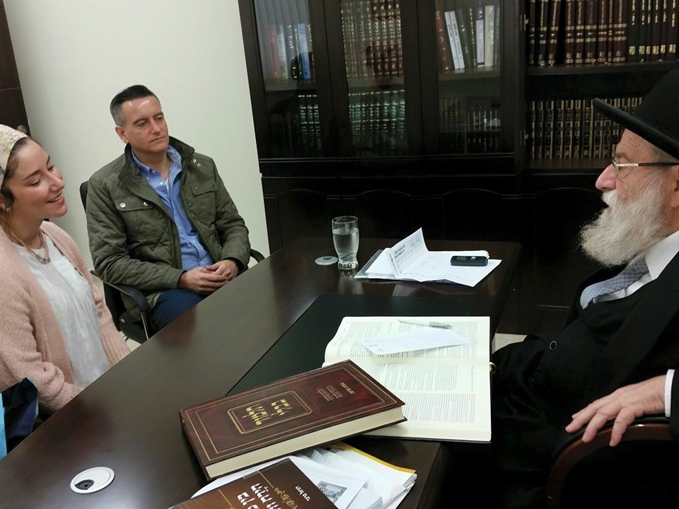 The author and Chana Eyal, a representative of the Anousim, who has returned to the Jewish People, in a meeting with Chief Rabbi of Jerusalem, Rav Aryeh Stern.