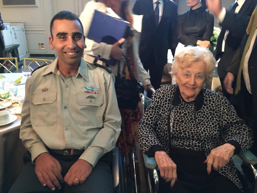 Side by side-Marjorie Pressman, founder of the Friends of Sheba, and Lieutenant Colonel Shai Siman-Tov, a war hero-Photo Nurit Greenger