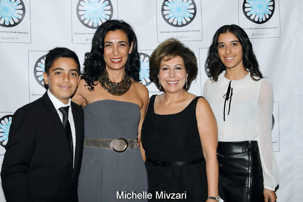 2n L-Dr. Sharon Nazarian, Mrs Susan Azizzadeh, President of IAJF, on either side Mrs. Nazarian's son and daughter
