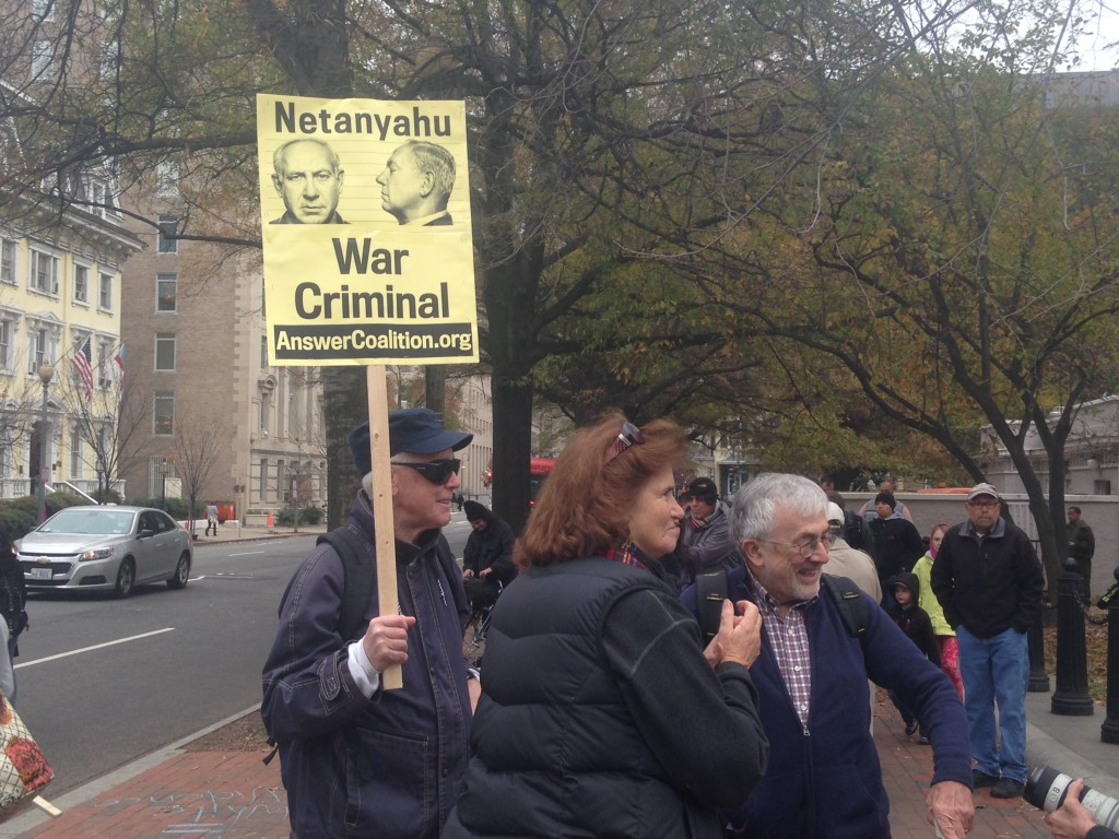 Protesters outside of The White House during Bibi's visit.