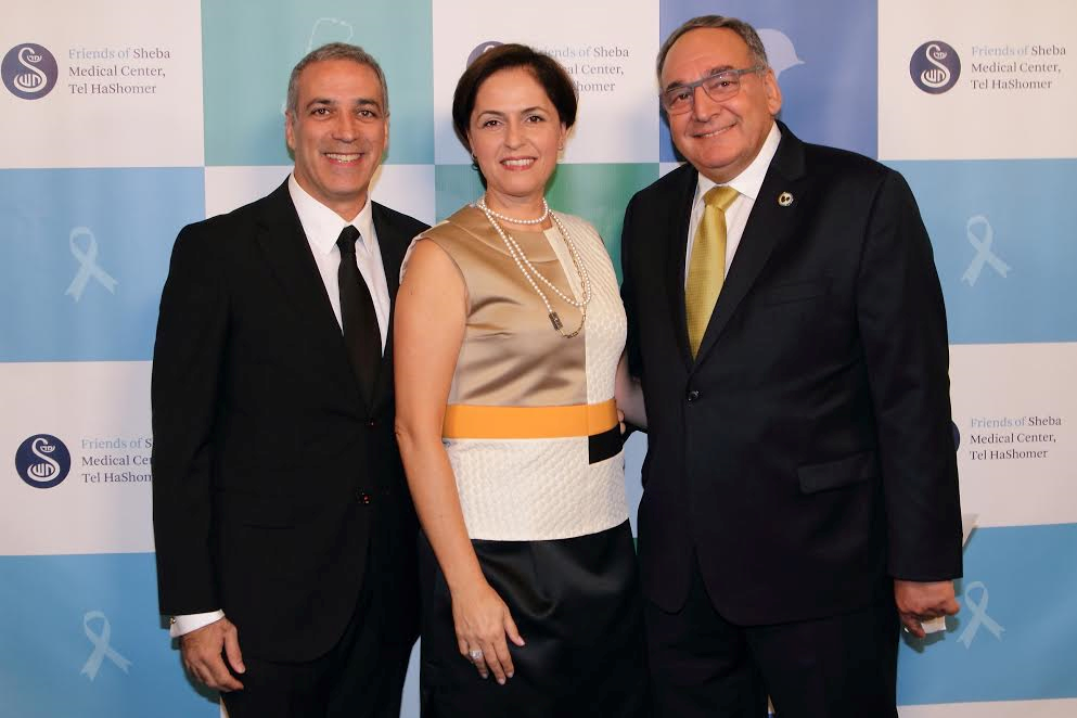 L-Friends of Sheba President Parham Zar, wife and board member Shoshana Zar and honoree Professor Zeev Rotstein, Director General and CEO of Sheba Medical Center-Photo Orly Halevy