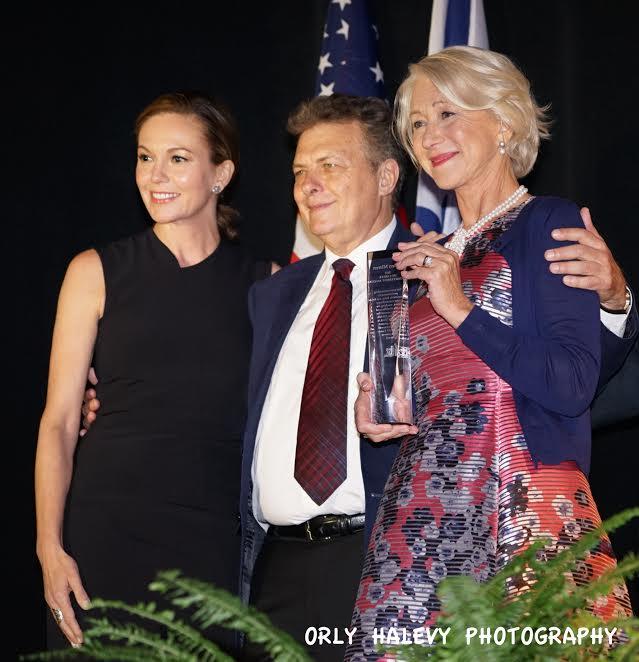 R-Helen Mirren Recipient of 2015 IFF Career Achievement Award, Meir Fenigstein IFF Founder-Executive Director, Diane Lane who presented of the award