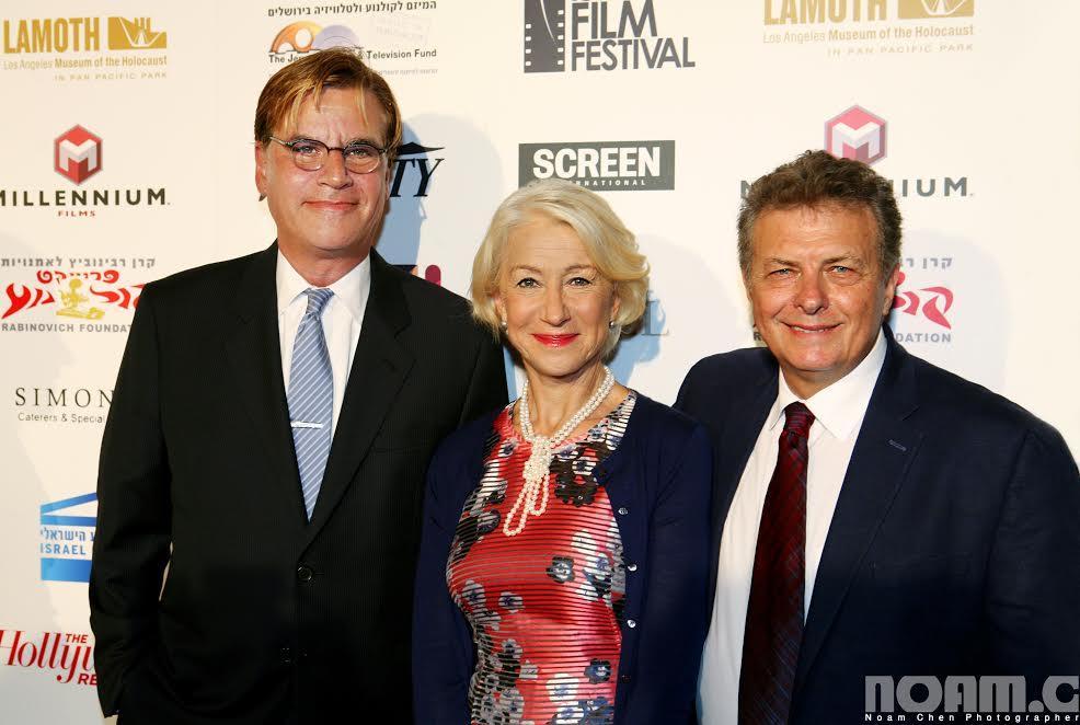 R-Meir Fenigstein, IFF Founder-Executive Director, Helen Mirren, Recipient of 2015 IFF Career Achievement Award, Aaron Sorkin, 2015 IFF Achievement in Film and Television Award