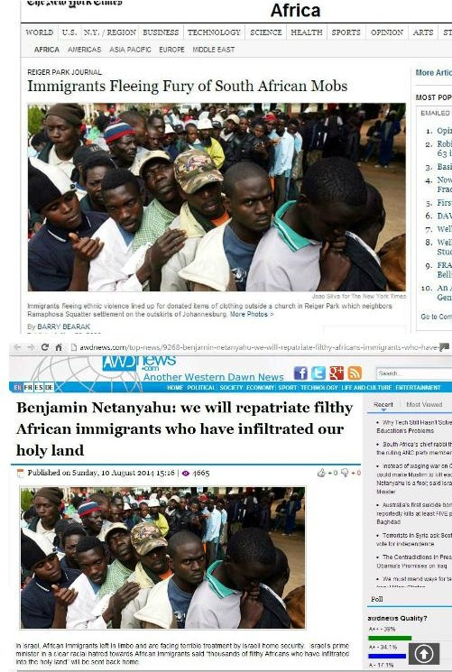 A picture of Zimbabwean migrants in South Africa seeking shelter at a church during a wave of xenophobic violence in 2008 was recycled for use in a story that appeared in 2014 and transplanted these people to Israel.