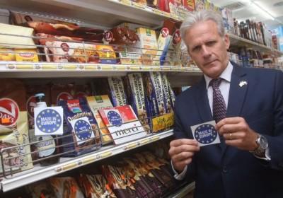 Michael Oren with EU labels (Courtesy)