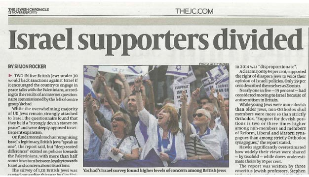 The latest report on British Jewish attitudes to Israel has made headlines in the Jewish press.